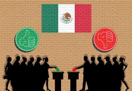 Mexican voters crowd silhouette in election with thumb icons and Mexico flag graffiti. All the silhouette objects, icons and backgrounds are in different layers.