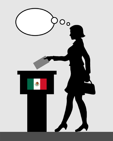 Mexican voter female voting for election in Mexico with thought bubble. All the silhouette objects and backgrounds are in different layers. Illustration