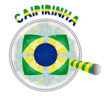 Caipirinha Cocktail Like Brazil Flag with yellow and green drinking straw. All the objects are in different layers and the text types do not need any font.