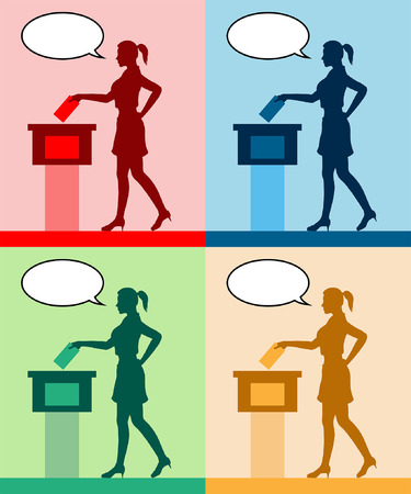 young woman voter silhouette with different colored speech bubble by voting for election. All the silhouette objects and backgrounds are in different layers.