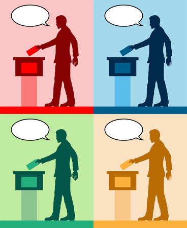 male voter silhouettes with different colored speech bubble by voting for election. All the silhouette objects and backgrounds are in different layers.