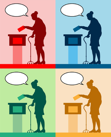 old woman voter silhouette with different colored speech bubble by voting for election. All the silhouette objects and backgrounds are in different layers.