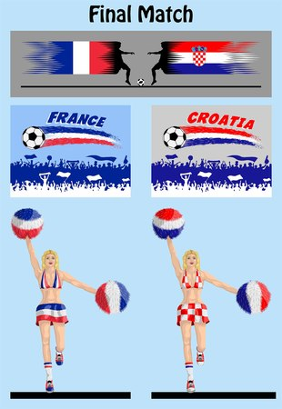 Final match of world championship 2018 between France and Croatia soccer teams. All the objects are in different layers and the text types do not need any font.