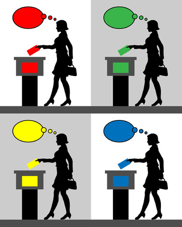 female voter silhouettes with different colored thought bubble by voting for election. All the silhouette objects and backgrounds are in different layers. Illustration