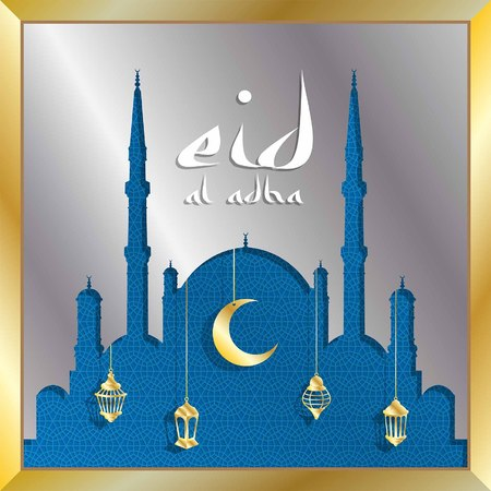 Eid al adha greeting card with silver mosque and gold lanterns for muslim holiday. All the objects are in different layers and the text types do not need any font. Ilustração