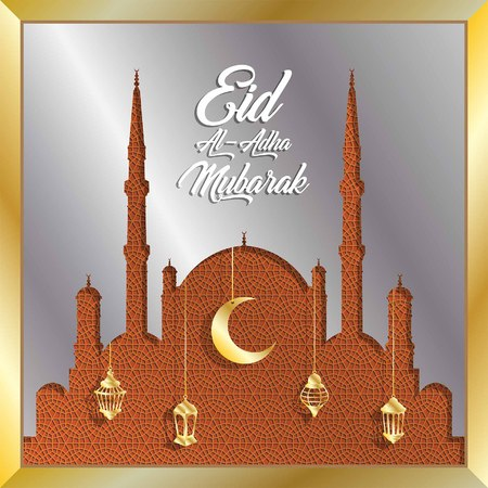Eid al adha mubarak greeting with silver mosque and gold lanterns for muslim holiday. All the objects are in different layers and the text types do not need any font. Illustration