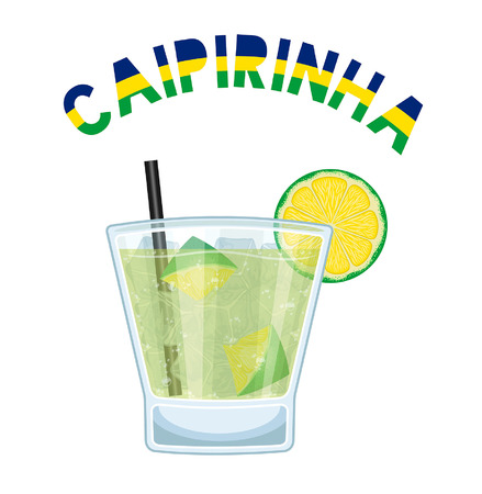 Brazil Cocktail Caipirinha With Black Drinking Straw. All the objects are in different layers and the text types do not need any font.
