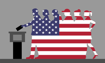 American voters crowd silhouette like USA flag by voting for election. All the silhouette objects, and background are in different layers.