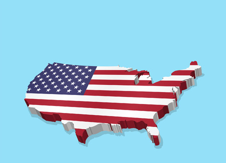 Three Dimensional Map of USA and American Flag. All the objects, shadows and backgrounds are in different layers.  イラスト・ベクター素材