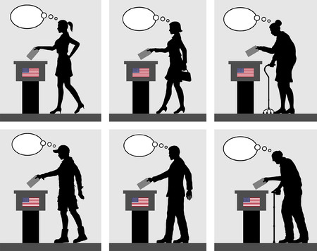 American citizens voting for election in USA with thought bubble. All the silhouette objects and backgrounds are in different layers.