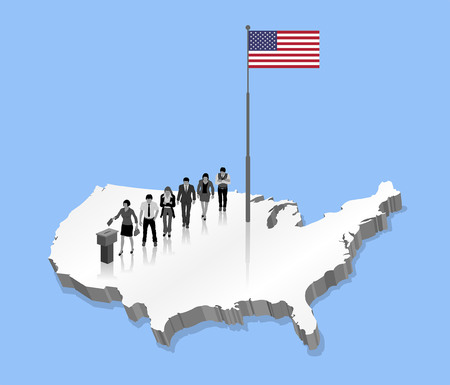 American citizens voting for the election. All the objects, shadows and backgrounds are in different layers. Illustration