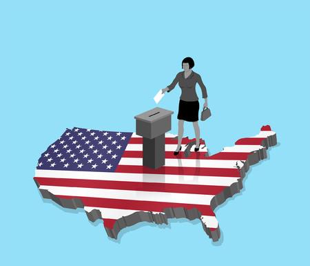 Citoyen américain votant pour les élections américaines sur une carte 3D des États-Unis. Tous les objets, les ombres et l'arrière-plan sont dans des calques différents.