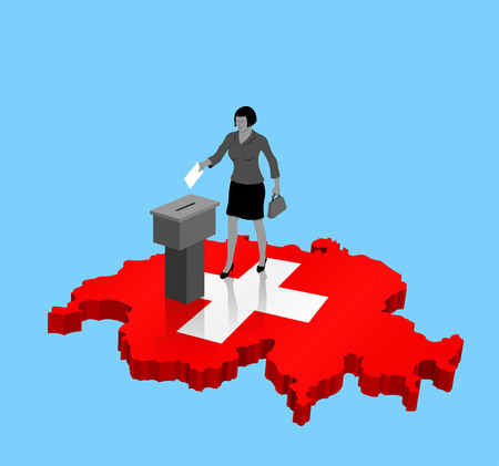 Swiss citizen voting for Switzerland election over an 3D Map. All the objects, shadows and background are in different layers.