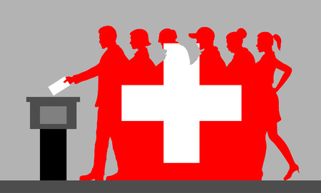 Flag of Switzerland. Close up. Flag of Switzerland. All the silhouette objects, and background are in different layers.