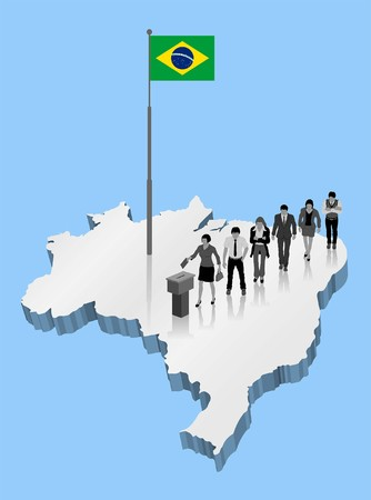 Brazilian citizens voting in Brazil with a 3D map with Flagpole. All the objects, shadows and backgrounds are in different layers. Illustration