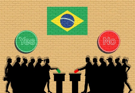 Brazilian voters crowd silhouette in Brazil. All the silhouette objects, icons and backgrounds are in different layers.