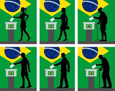 Brazilian citizens silhouette voting for election in Brazil. All the silhouette objects and backgrounds are in different layers. Vectores