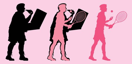 Fat and slim man silhouette by eating pizza and playing tennis. All the objects are in different layers.