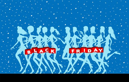 Black friday logo with women silhouettes and snowflakes. All fonts are in font.