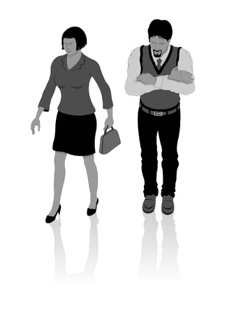 Turkish man and woman in modern clothes. All Shadows and Shadows.