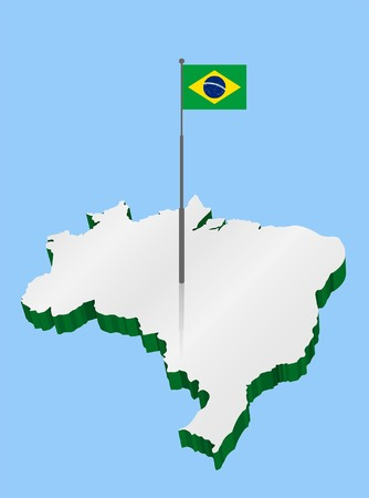 Brazil 3D Map with Flagpole and Brazilian Flag. All Shadows and Shadows.