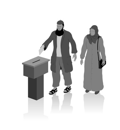 Religious muslim voters. All Shadows and Shadows. Stock Illustratie