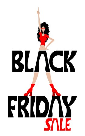 Black friday sale logo with forefinger pointing happy woman cartoon. All the objects are in different layers and the text types do not need any font.
