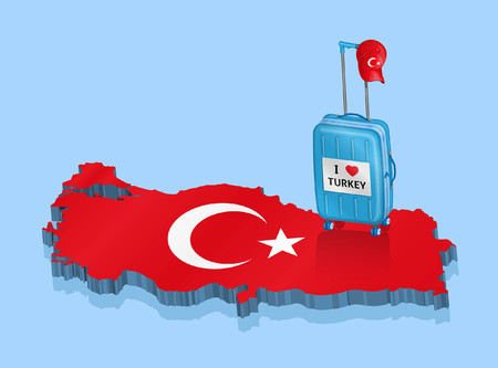Turkish line with tourist baggage and 3D map. All fonts are in font.