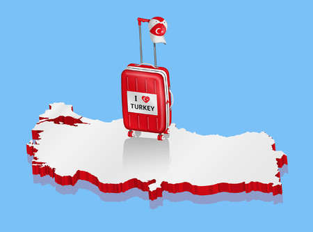 Turkey cap over 3D Turkey map. All fonts are in font.