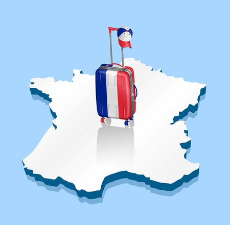 Suitcase like French flag. All fonts are in font.