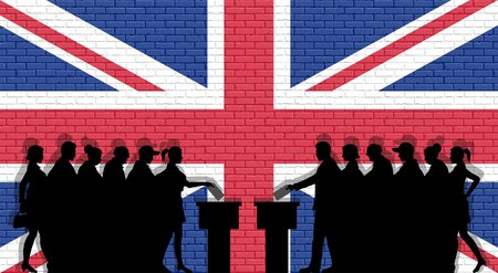 British voters crowd in front of brick wall. All of the silhouette objects, icons and backgrounds.