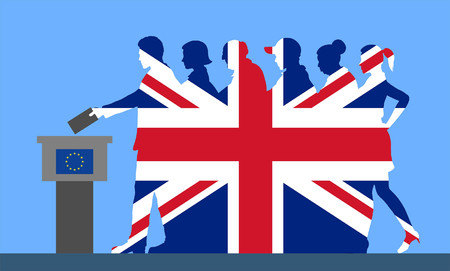 British voters crowd silhouette. All the silhouette objects.