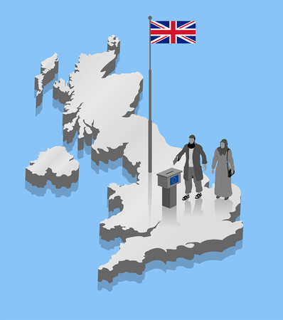 Immigration over UK map. All Shadows and Shadows. Illustration