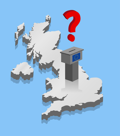 Brexit results with ballot over 3D map of United Kingdom. All fonts are in font.
