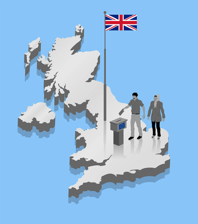 Migrant voters are voting on Brexit over a United Kingdom map. All Shadows and Shadows.