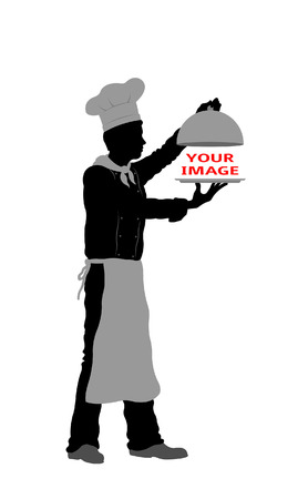 Serving dish with chef silhouette. All fonts are in font.