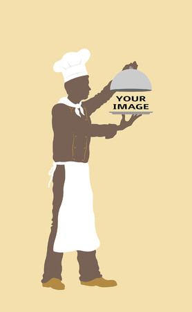 Platter cover with chef silhouette. All fonts are in font. Иллюстрация