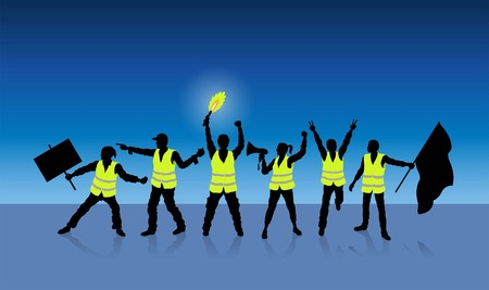 Yellow vests protest in Paris. All Shadows and Shadows.