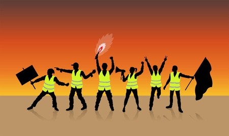 Yellow vests protest in Paris France in front of sunset. All Shadows and Shadows. Illustration