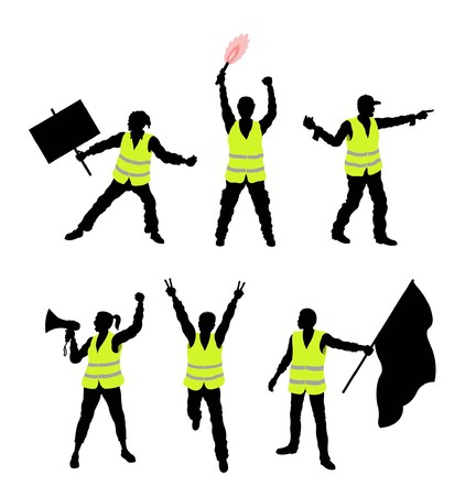 Yellow vest protesters silhouettes. All Shadows and Shadows. 向量圖像