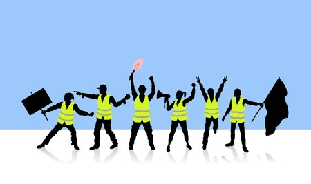 French people protesting. All Shadows and Shadows. Stock Vector - 115842690