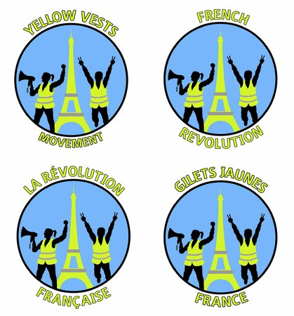 Yellow vests protest designs with Eiffel Tower in Paris France. All fonts are in font.