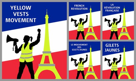 Yellow vests protest symbols with Eiffel Tower in Paris France. All fonts are in font.