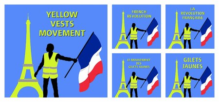 Eiffel Tower and French flag. All fonts are in font.