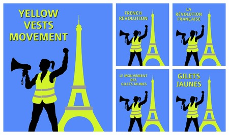 Yellow vests in front of Eiffel Tower. All fonts are in font.