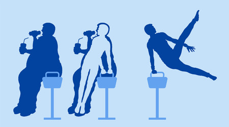 Fat and slim man silhouettes lose weight with exercising on pommel horse. All the objects are in different layers. Иллюстрация