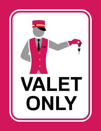 Valet signboard with car key. All fonts are in font. Illustration