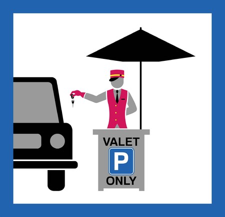 Valet desk and umbrella silhouette with parking sign. All fonts are in font.