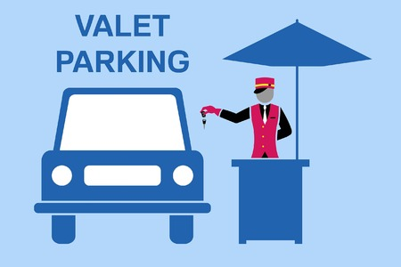 Valet parking signboard. All fonts are in font.