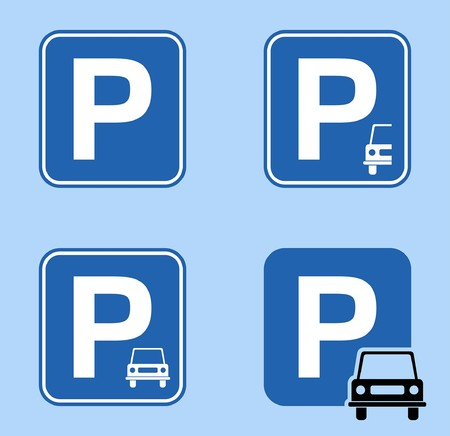 Parking signs vector designs. All fonts are in font. Иллюстрация